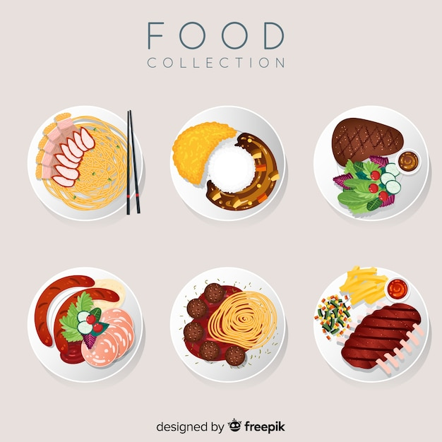 2d food dish collection Free Vector