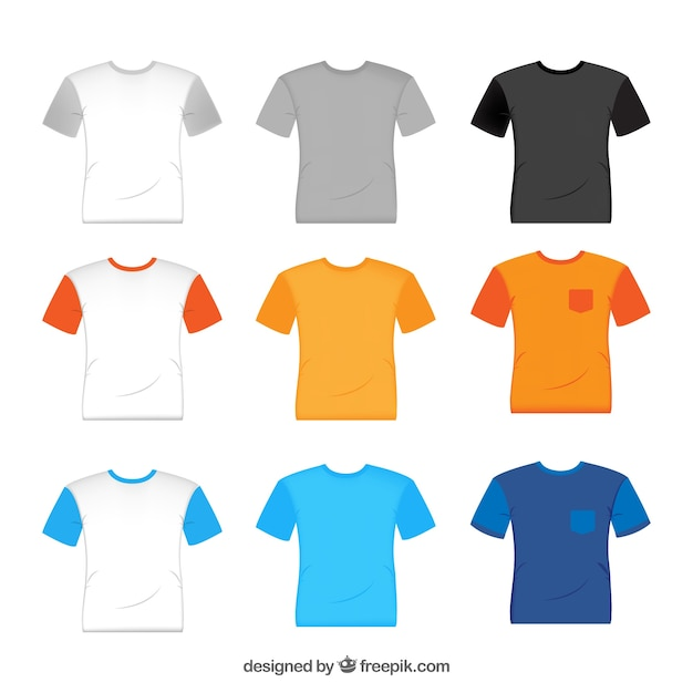 2d t-shirt collection in different colors Premium Vector