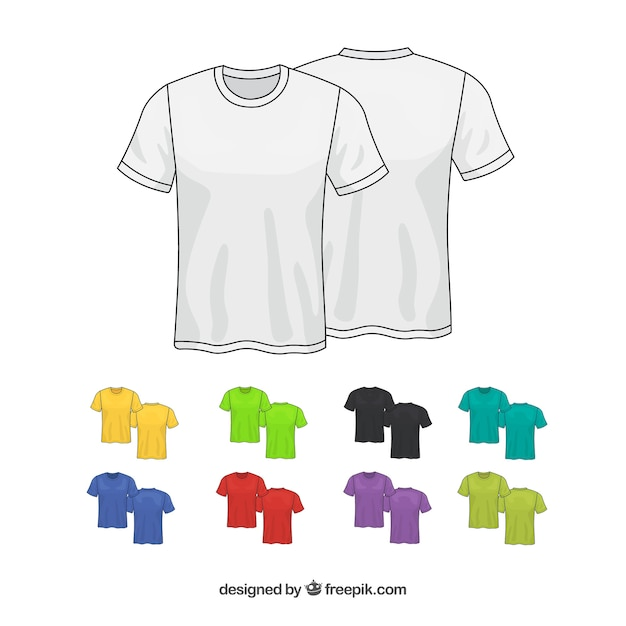 2d t-shirt collection in different colors Free Vector