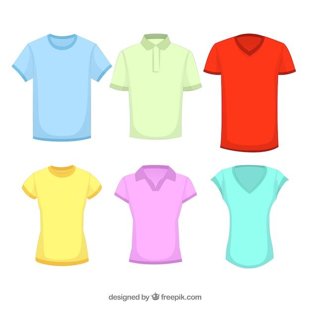 異なる色の2d tシャツコレクション 無料ベクター
