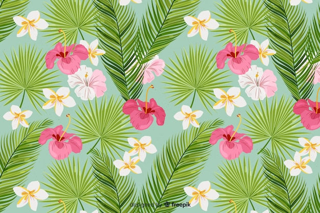 2d tropical background with flowers and leaves pattern Free Vector