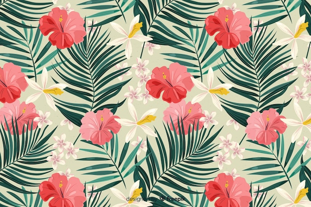 2d tropical background with flowers and leaves Free Vector