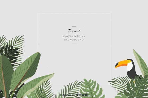 2d 열 대 나뭇잎과 새 배경 프리미엄 벡터