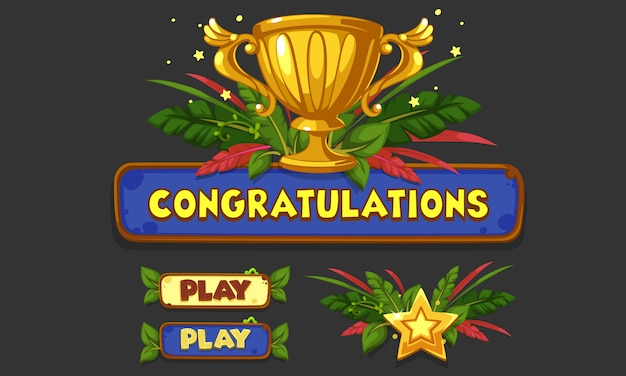 2dゲームやアプリのためのui要素のセット、jungle game ui part 5 Premiumベクター