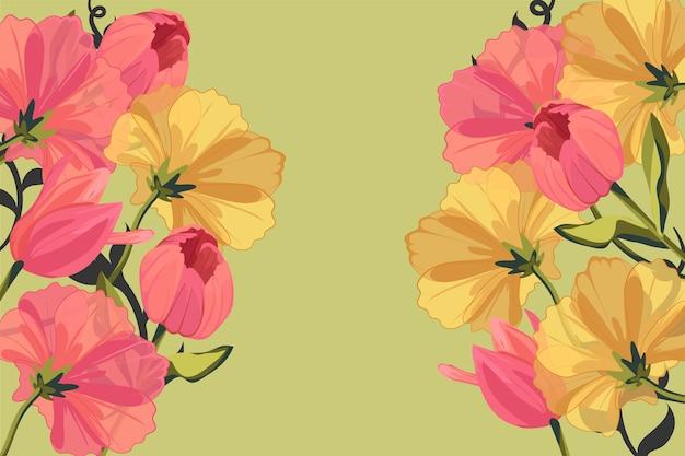 2d vintage flowers background Free Vector