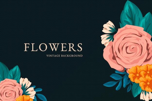 2d carta da parati fiori vintage Vettore gratuito