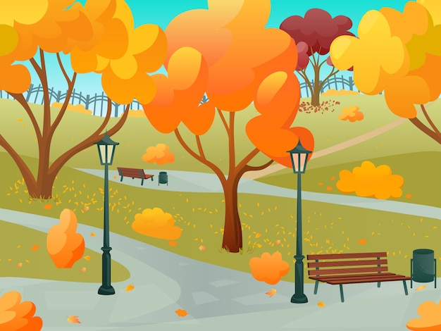 秋の公園2dゲーム風景 無料ベクター