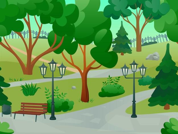 Парк 2d игровой пейзаж Бесплатные векторы