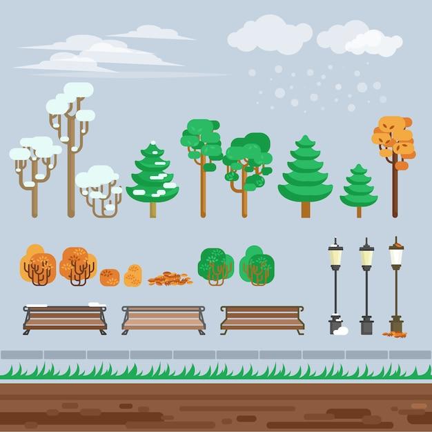 ゲーム2d冬の風景公園の背景 無料ベクター