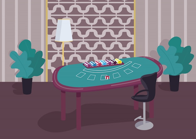 Блэкджек зеленый стол плоский цветной иллюстрации. счетчик играть в карточные игры. стек фишек, чтобы делать ставки. азартная лотерея. казино 2d интерьер мультяшныйа с роскошной отделкой на фоне Premium векторы