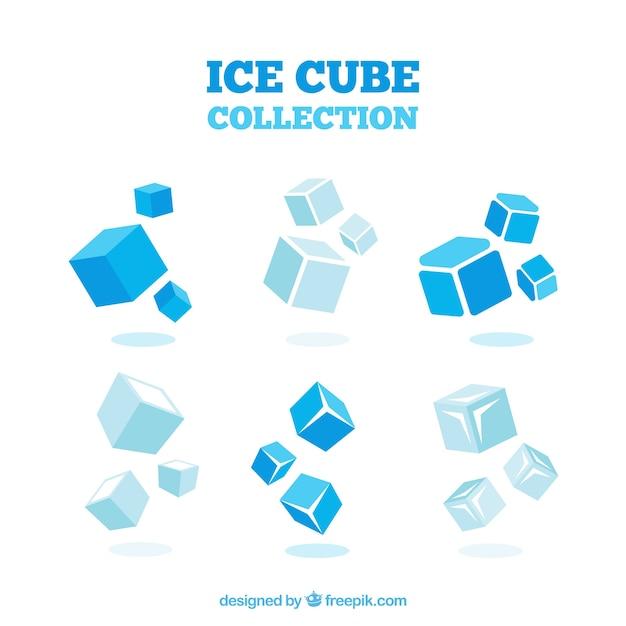 Коллекция кубиков льда с дизайном 2d Бесплатные векторы