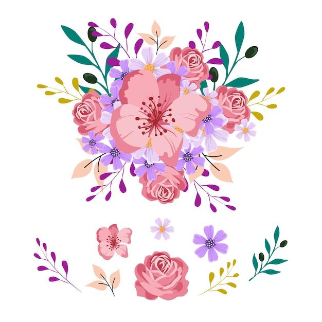 2d букет цветов иллюстрация пакет Бесплатные векторы