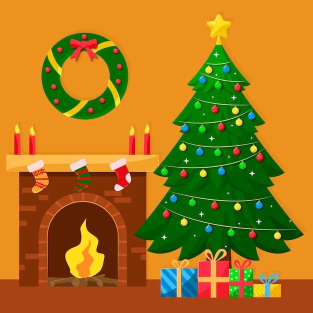 Рождественская елка с 2d эффектом Бесплатные векторы