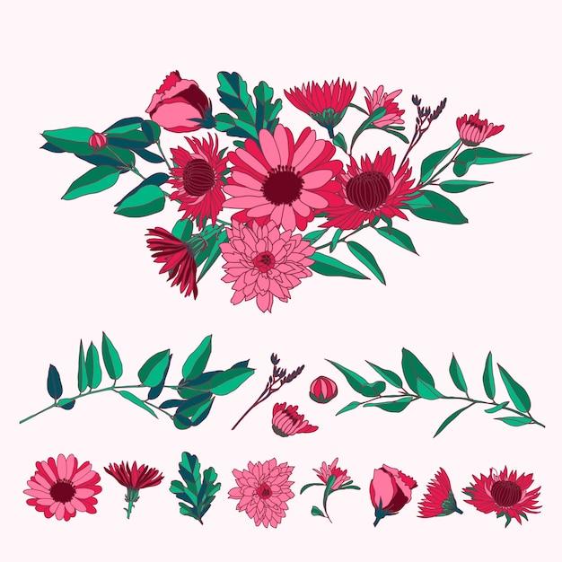 Красочный 2d цветочный букет Бесплатные векторы