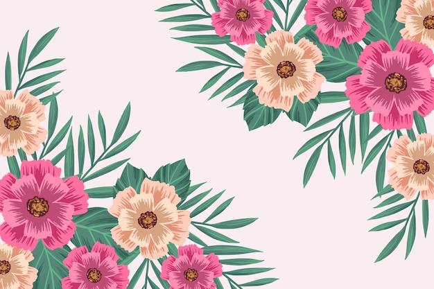 2d винтажные цветы фон Бесплатные векторы