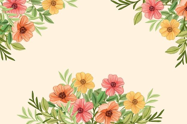 2dヴィンテージの花の壁紙 無料ベクター