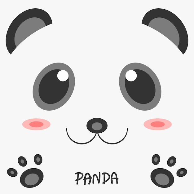 Дизайн изображения панды абстрактного чертежа животный 2d. Premium векторы