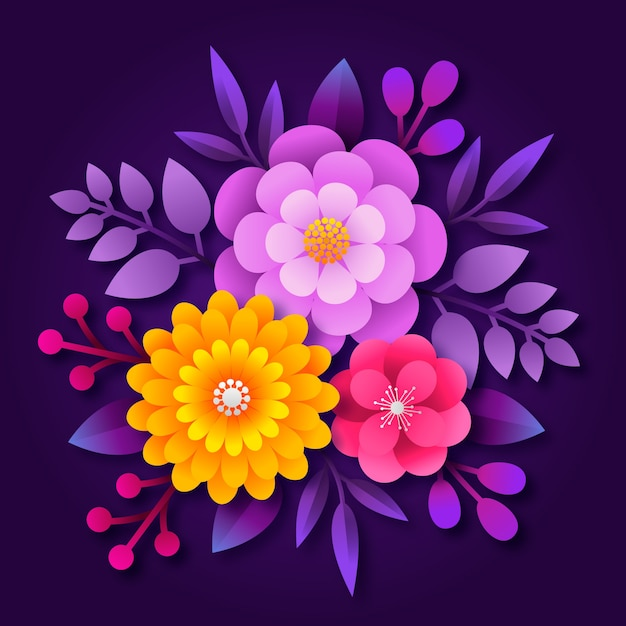 2d градиентная бумага в стиле цветы Бесплатные векторы