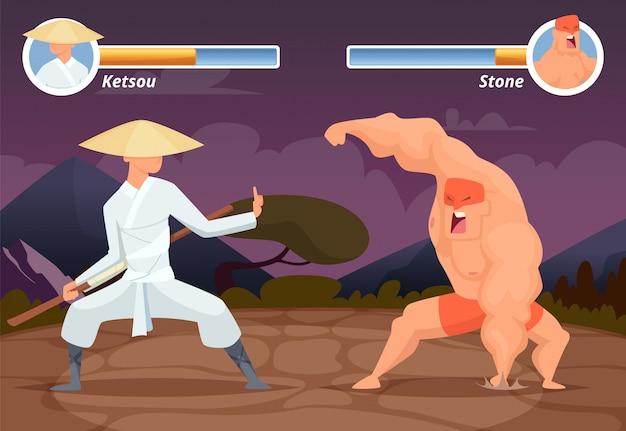 Игра файтинг, расположение экрана компьютера 2d игровой азиатский боец против рестлера лучадора фон Premium векторы