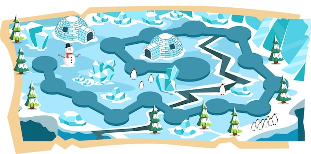 パスとブルーアイスランドの雪景色2dゲームマップ Premiumベクター