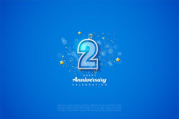 2-я годовщина с белыми цифрами на синем фоне. Premium векторы