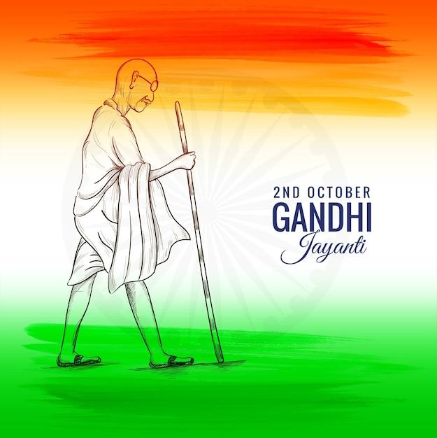 2nd october or gandhi jayanti for national festival celebrated Free Vector