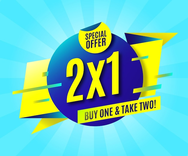 2x1 promotion banner Free Vector