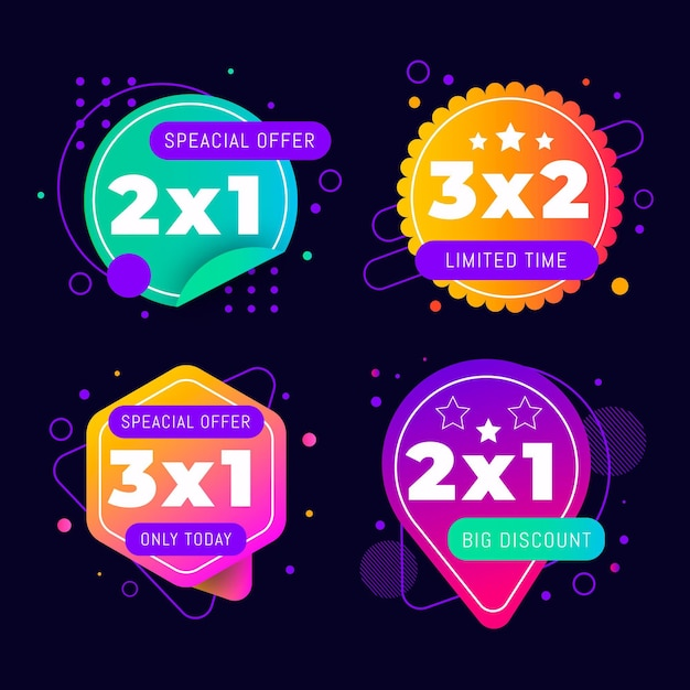 2x1 promotion labels collection Free Vector