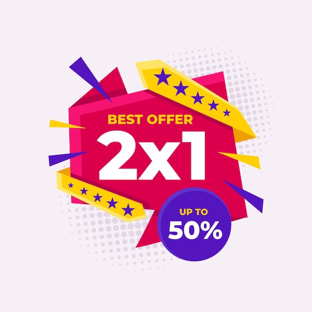 Modello di etichette di promozione 2x1 Vettore gratuito
