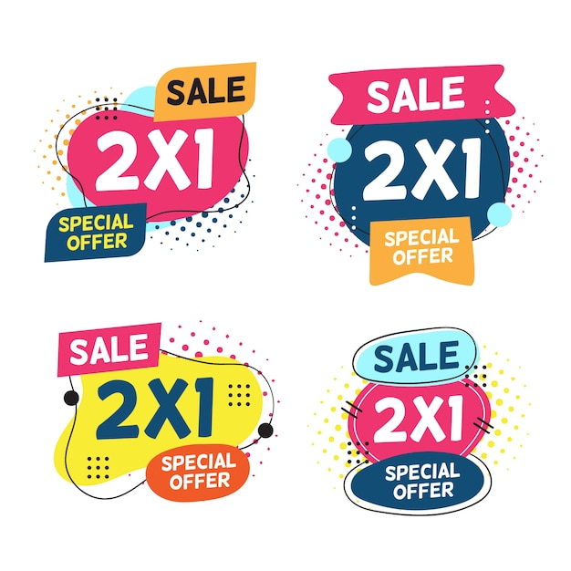 2x1 promotion labels Premium Vector
