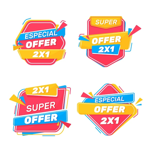 Etichette promozionali 2x1 Vettore gratuito