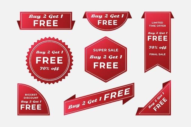 2x1 promotion labels Premium Vector
