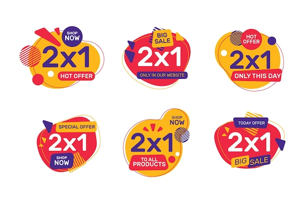 2x1 promotion labels Free Vector
