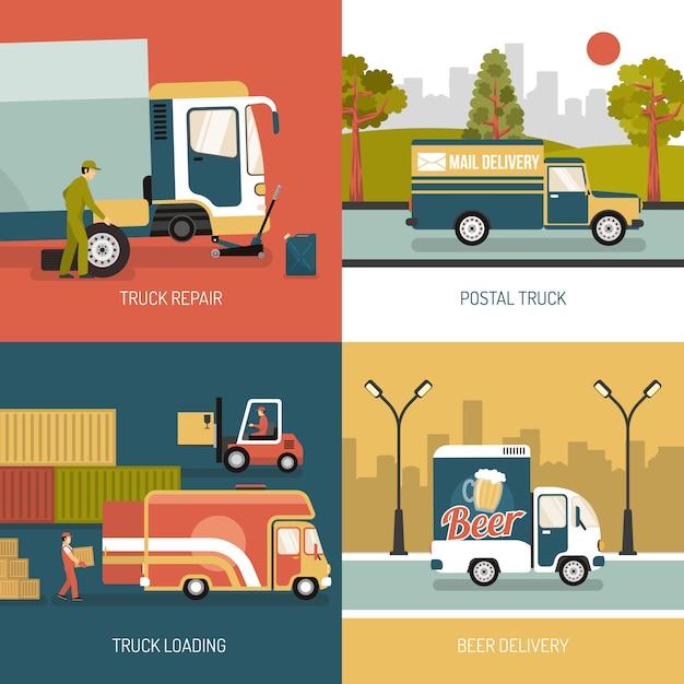 Доставка грузовиков 2x2 концепция дизайна Бесплатные векторы