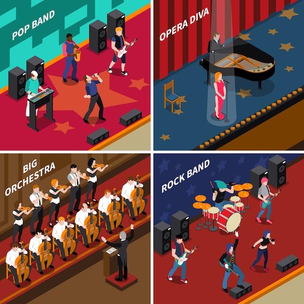 Набор музыкантов люди изометрические 2x2 иконки Бесплатные векторы