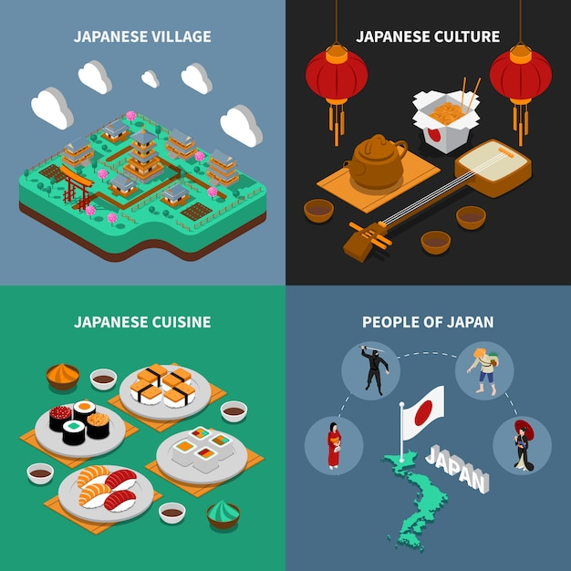 Набор японских туристических изометрических 2x2 иконки Бесплатные векторы