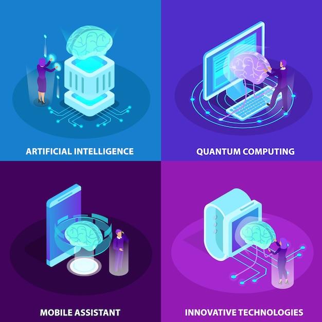 Искусственный интеллект 2x2 концепция дизайна набор инновационных технологий квантовых вычислений мобильный помощник изометрические свечение иконки Бесплатные векторы