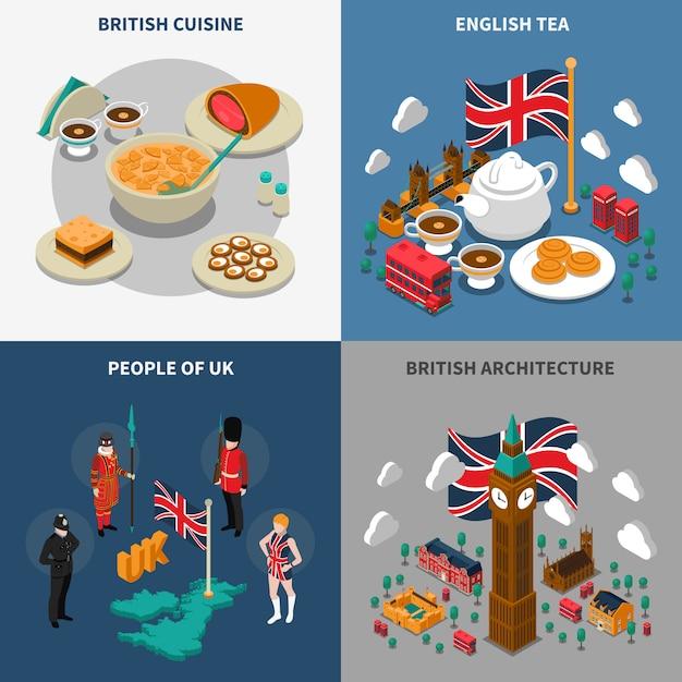 Набор туристических изометрических 2x2 иконок великобритании Бесплатные векторы