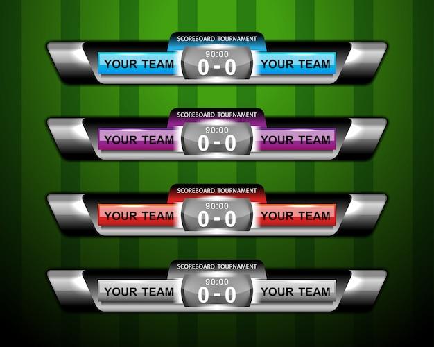 スポーツサッカーやサッカーのスコアボードと下3分の1 Premiumベクター