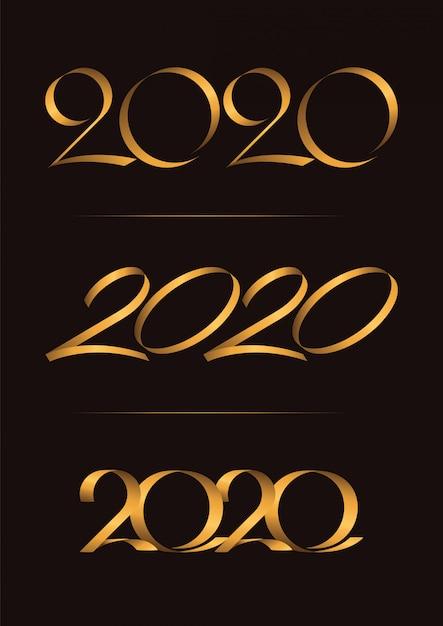 3のセット、新年あけましておめでとうございます、クリスマス2020年手書きを祝う、招待カード、背景、ラベルまたは静止の高級デュオトーンゴールドブラウン Premiumベクター