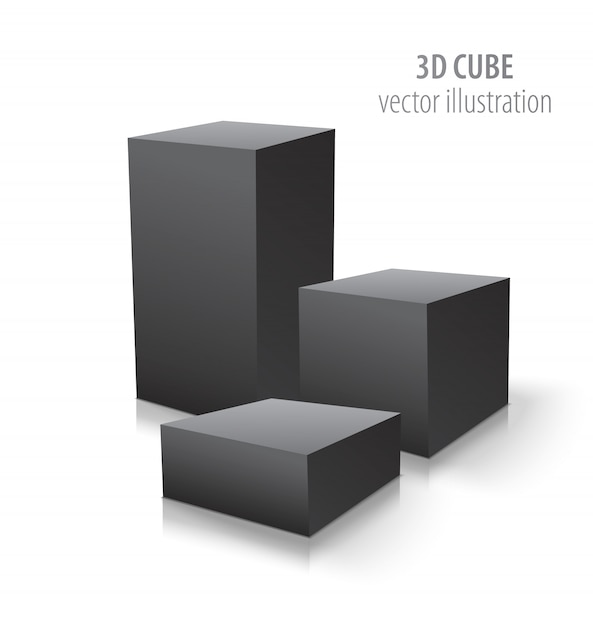 3 кубика 3d изолированного на белизне Premium векторы