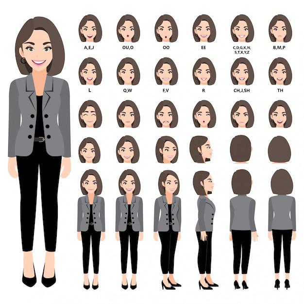 アニメのスーツのビジネスウーマンと漫画のキャラクター。正面、側面、背面、3-4ビューのキャラクター。体の別々の部分。 330 Premiumベクター