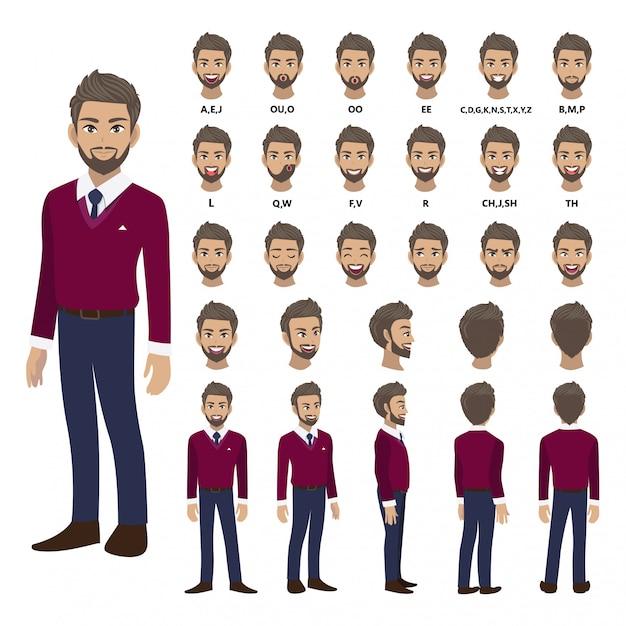 アニメーションの紫色のセーターシャツのビジネスマンと漫画のキャラクター。正面、側面、背面、3-4ビューのキャラクター。体の別々の部分。 Premiumベクター