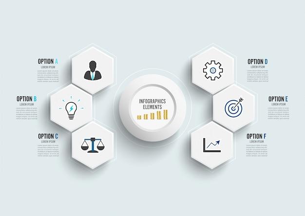 Векторный инфографический шаблон с 3-й бумажной этикеткой, объединенными кругами. бизнес-концепция с 6 вариантами. Premium векторы