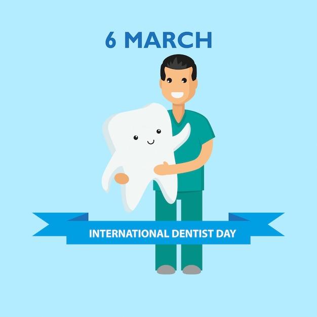 国際歯科医の日。 3月6日 Premiumベクター