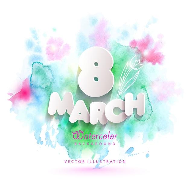 水彩画背景に3月8日グリーティングカード。 Premiumベクター