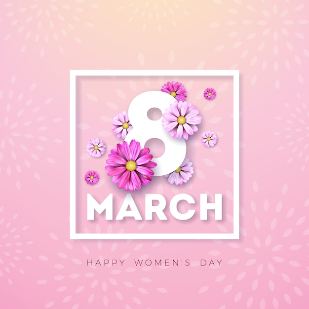 3月8日。幸せな女性の日の花のグリーティングカード。ピンクの背景に花のデザインと国際休日イラスト。 無料ベクター