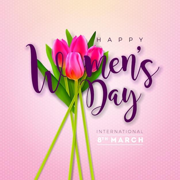 3月8日。チューリップの花を持つ女性の日グリーティングカードデザイン。 無料ベクター