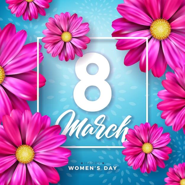 3月8日。花とタイポグラフィの手紙を持つ女性の日のお祝いのデザイン 無料ベクター