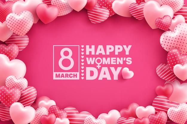 ピンクの多くの甘い心を持つ3月8日女性の日グリーティングカード Premiumベクター